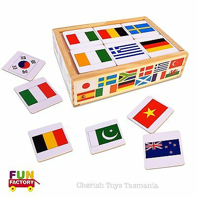 Montessori Cultural World Flags Wooden Memory Matching Game Kids Educational Toy