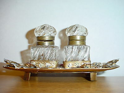 Antique Ottoman Turkish Gold Gilt Double Inkwell