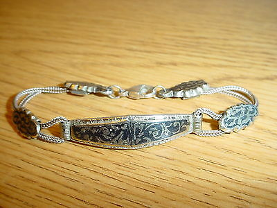 Antique Ottoman Turkish Sterling Silver Niello Enameled Bracelet