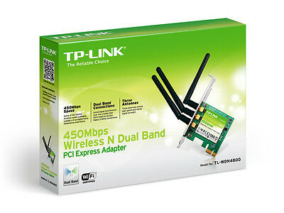 TP-Link 450Mbps Wireless N Dual Band PCI Express Adapter, Atheros, 3T3R