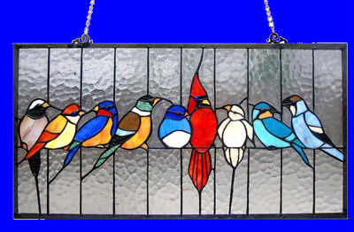 Tiffany Style Stained Glass Window Panel Bird Lovers 24X13  LAST ONE THIS PRICE