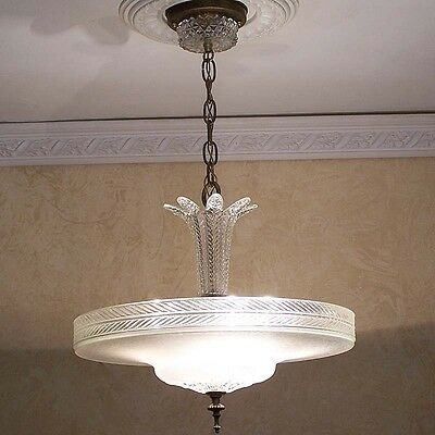 940 Vintage 40's Ceiling Light Lamp Fixture Glass Chandelier  4 lights white