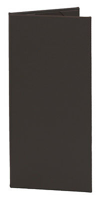 "(10pk) Menu Covers, 2-panel, 4.25"" x 11"" insert, Dk Brown Faux Leather"