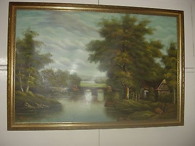 A Beautiful Framed Oil On Canvas Painting.signed