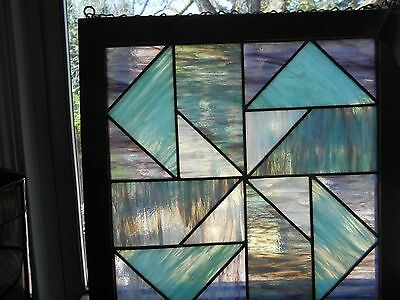 Geometric Design Blues Lavenders Purples Wooden Stained Glass Window