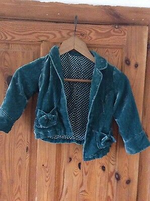 Marks and Spencer Teal Turquoise Velvet Style Jacket Girls Age 2