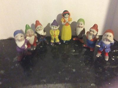 Snow White and the Seven Dwarfs Large Bisque Figurines Japan Disney 1930's