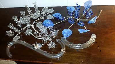 Vintage Antique Wire Centerpiece w/ Glass Leaves and Vines for Bud Tubes