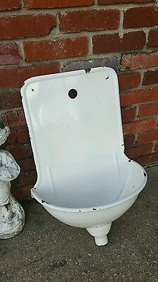 Rare Antique French white enameled cast iron garden drinking sink lavabo