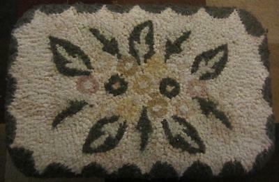 """Antique Wood Footstool with Hooked Rug Top - 8 1/2"""" T by 16 1/2"""" L & 11"""" W"""