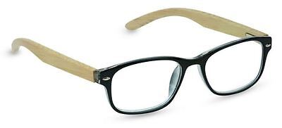 NEW Peepers Reading Glasses Strength +2.25 Bravo Bamboo Black - Free Shipping!