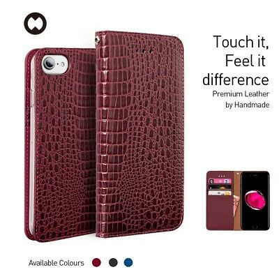 For iPhone 7/ 7 Plus Wallet Case , Genuine Crocodile Leather Flip Cover + Cable