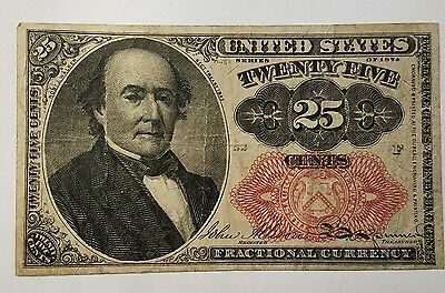 1874 Usa Us Fractional Currency 25 Cents Walker Banknote: Civil War Paper Money