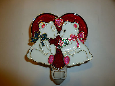 """Stained Glass Style """" Boy / Girl Bears """"  Night Light"""