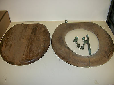 Vintage Wooden Oak Toilet Seat Original Brass Hardware Antique Bathroom