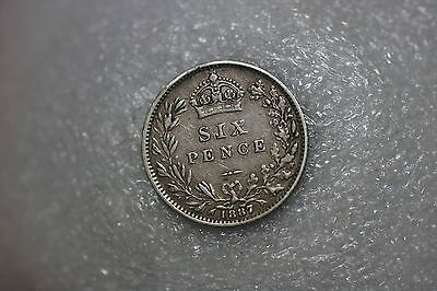 Uk Gb 6 Pence 1887 Victoria Silver A59 #7776