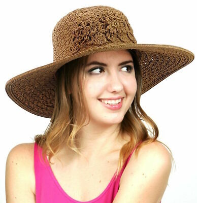 C.C Sun Hat Flower Paper Straw Women s Woven Crushable Floral Adjustable  SPF50 5a8add1debf3