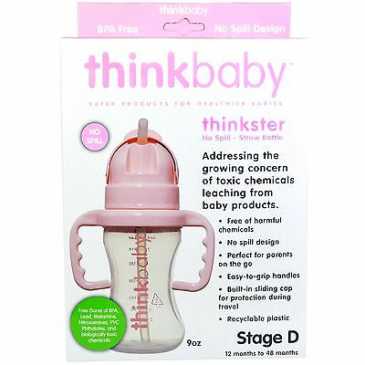 Sippy Cups W/ Straw Thinkbaby Thinkster Baby Toddler Infant No Spill Bottle Pink