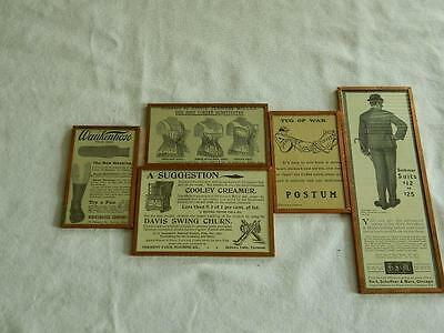 Lot Of 5 Original Antique Advertising Ads Custom Mounted By Harveys Wallhangers