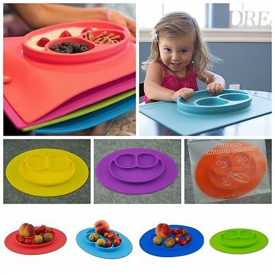 New Kids Safe Silicone Food Bowl Happy One-piece Divided Placemat Plates