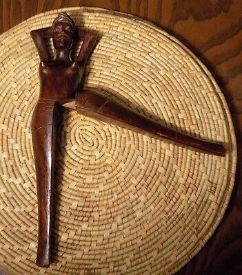 Vintage Hand Carved Wooden Nut Cracker Folk Art Sexy Lady Woman Nude Philippines