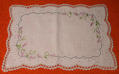 Large Vintage Embroidered Doily Flowers