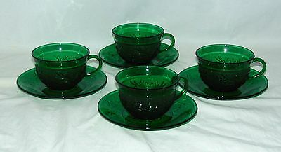 4 Anchor Hocking *SANDWICH GREEN* CUPS & SAUCERS*