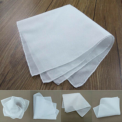 Beyond 10 Pieces Foldable Soft Pure White Handkerchief Women Pocket Hankies M99G