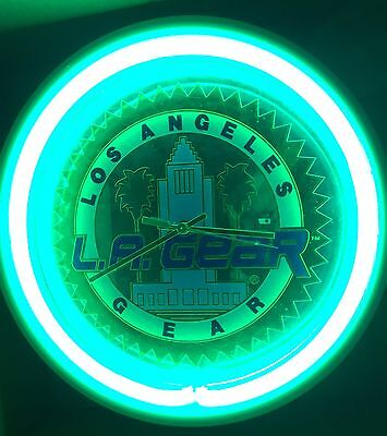 Vtg L.A. Gear GREEN NEON Clock 80's Advertising Promotional WORKS GREAT Clothing
