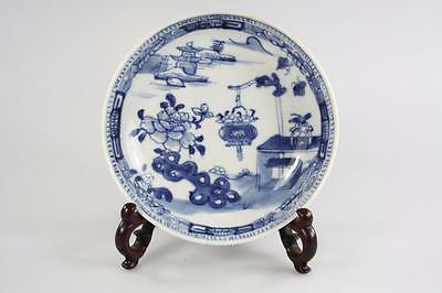 Antique Chinese Qing Dynasty Blue And White Floral Plate