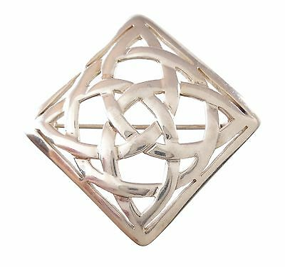 """Retro Vintage .925, Sterling Silver Celtic Trinity Knot Brook Pin Signed KH 1"""""""