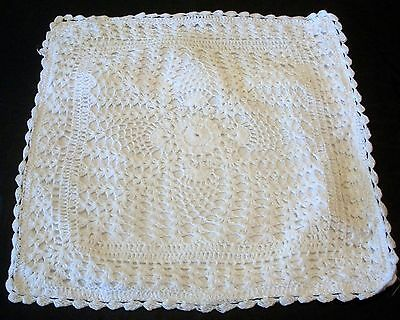 Vintage White Cotton Hand Crochet Cushion Cover