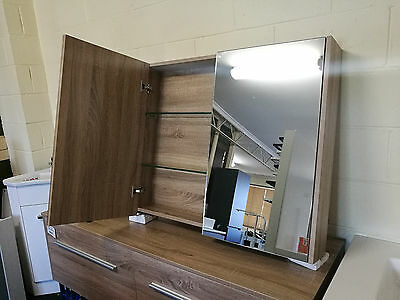 White Oak Timber Wood Grain Panel Mirror Shaving Cabinet 600/750/900/1200/1500mm