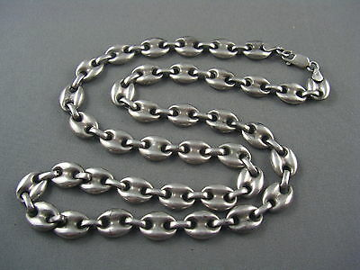 """HEAVY Vintage Solid Sterling 925 Classic NAUTICAL LINK Necklace 35g 20 1/2"""""""