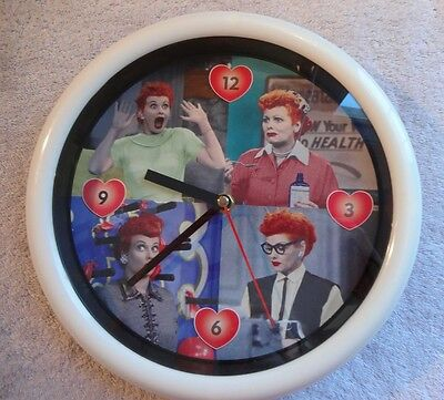 """""""I Love Lucy"""" ROUND WALL CLOCK, Four Faces of Lucy, Collectible Decor Vandor 10"""""""