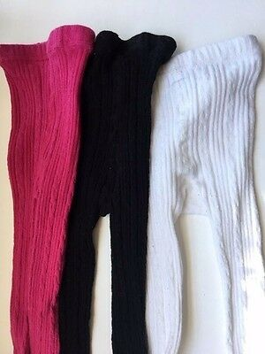 Girls Tights approx. 6-12 Months LOT OF 3 PINK WHITE BLACK