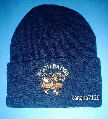 Wood Badge/Boy Scout 3 Beads Axe In Log Insignia Beanie/Ski Hat/Cap Navy