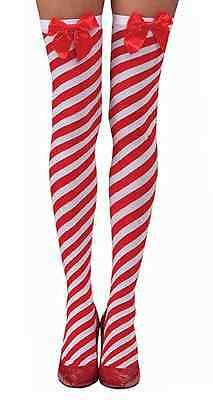 Candy Cane Thigh High Stockings Striped Christmas Accessory Stripes