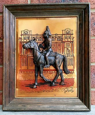 Vintage Retro 3D British Horse Riding Soldier Metal Picture Framed Wall Art