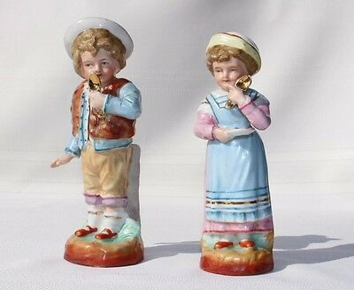 19th Century Antique German Porcelain Boy & Girl with Gold Spoon Figurines Pair