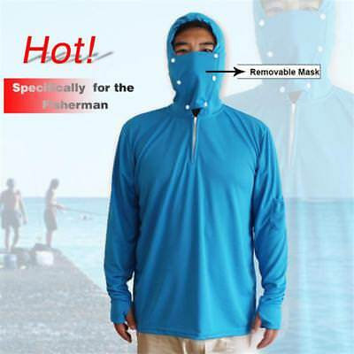 Mens Long Sleeve Fishing Sun Shirt Quick Dry Breathable Hooded Top with Mask