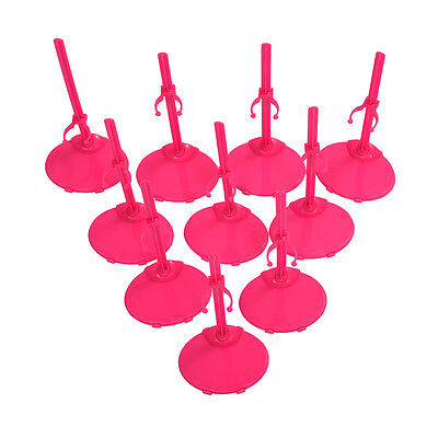 10 X Support Pedestal Display Stand For Barbie Doll -Rose Red SH