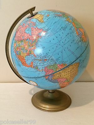 "Vintage Original Crams Imperial Articulating World Globe 12"" With Metal Stand *G"