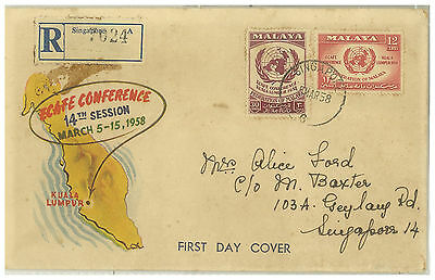 Malaya 1958 Ecafe Conference Registered Fdc Posted In Singapore