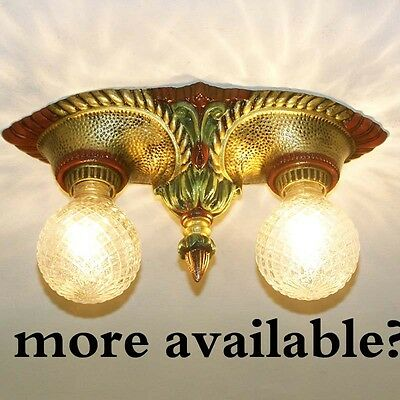 903 Vintage 1920s 30's Ceiling Light lamp fixture art nouveau polychrome