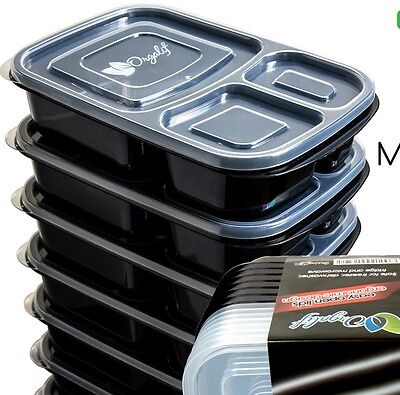 Bento Lunch Box Containers Reusable BPA free / 3 Compartment, Set of 6.
