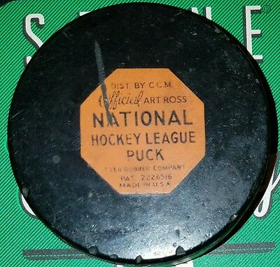 VINTAGE OFFICIAL ART ROSS NATIONAL HOCKEY LEAGUE PUCK  RUBBER pat #2226516 USA
