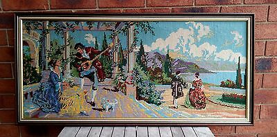 VINTAGE RETRO WALL ART TAPESTRY NEEDLEPOINT FRENCH WALL HANGING 1960s FRAMED
