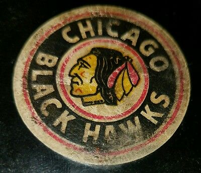 VINTAGE ART ROSS CONVERSE CHICAGO BLACKHAWKS GAME PUCK made in the USA
