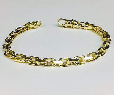 "18k Solid Yellow Gold Handmade Anchor Link Mens chain/Bracelet 8"" 32 grm 5.5MM"